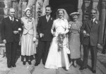 Elsie & Fred Wigglesworth and Gladys & Denis Riley at the wedding of George & Margaret at Adel Church, 2 April 1956